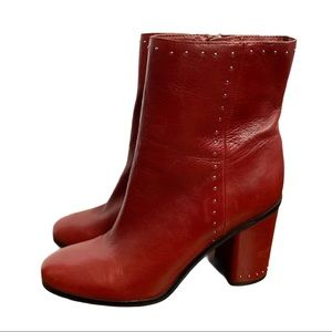 Marc Fisher Piazza Burgundy Studded Boots Size 10